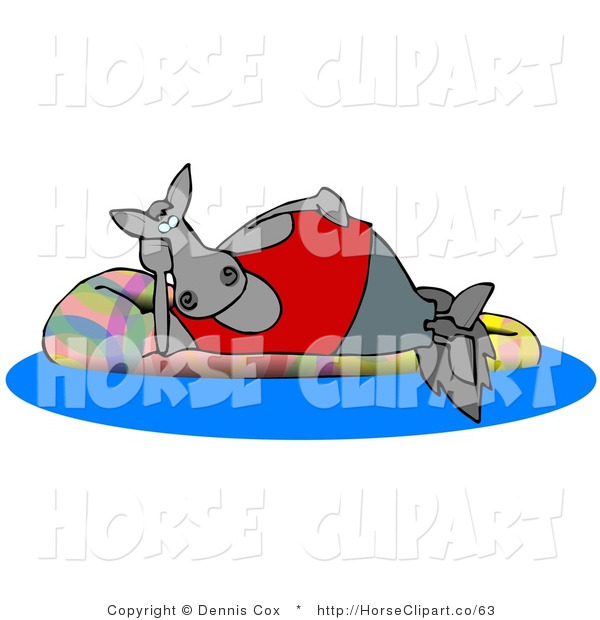 Clip Art of a Happy Gray Horse Relaxing on a Floatation in a Swimming Pool