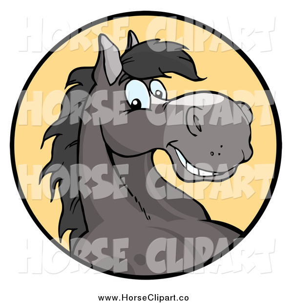 Clip Art of a Happy Gray Horse Smiling in a Yellow Circle