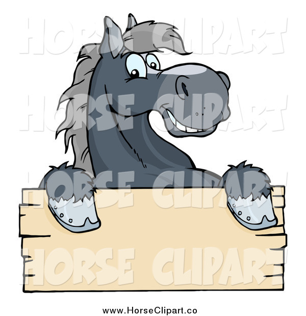 Clip Art of a Happy Gray Horse Smiling over a Blank Wood Sign