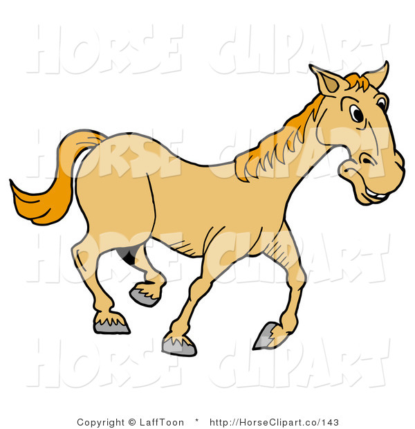 Clip Art of a Happy Yellow Horse Trotting Right on a Farm