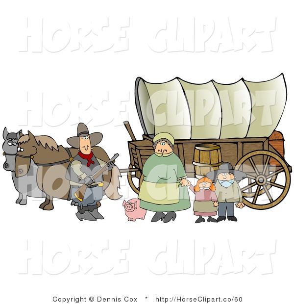 Clip Art of a Historical Family of Pioneer Settlers Standing with Their Pig in Front of Two Horses Pulling a Covered Wagon Along the Oregon Trail