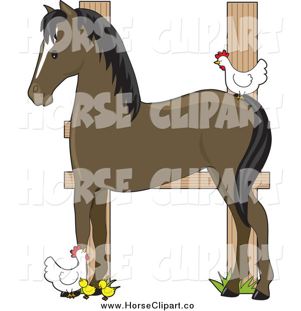 Clip Art of a Horse and Chickens Forming Letter H