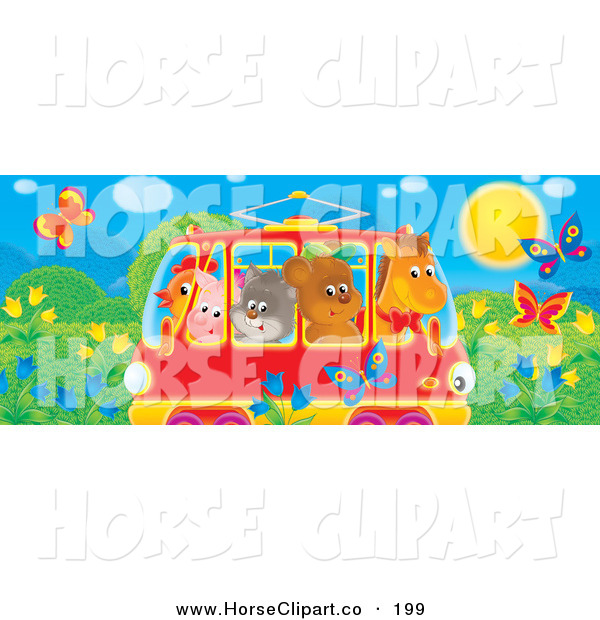Clip Art of a Horse, Bear, Cat, Pig and Chicken Friends Crowded into a Rail Car, Passing a Meadow with Butterflies and Flowers