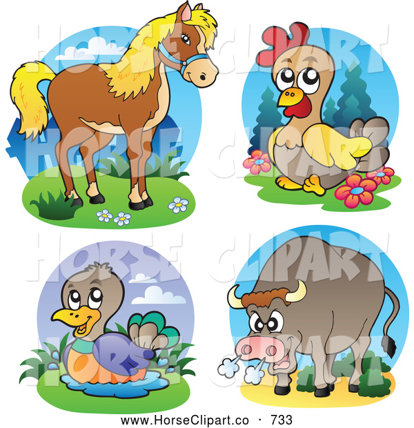 Clip Art of a Horse, Chicken, Duck and Bull