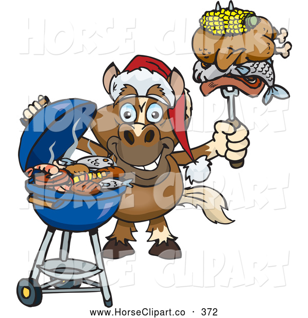 Clip Art of a Horse Grilling While Wearing a Santa Hat and Holding Cooked Meats on a BBQ Fork