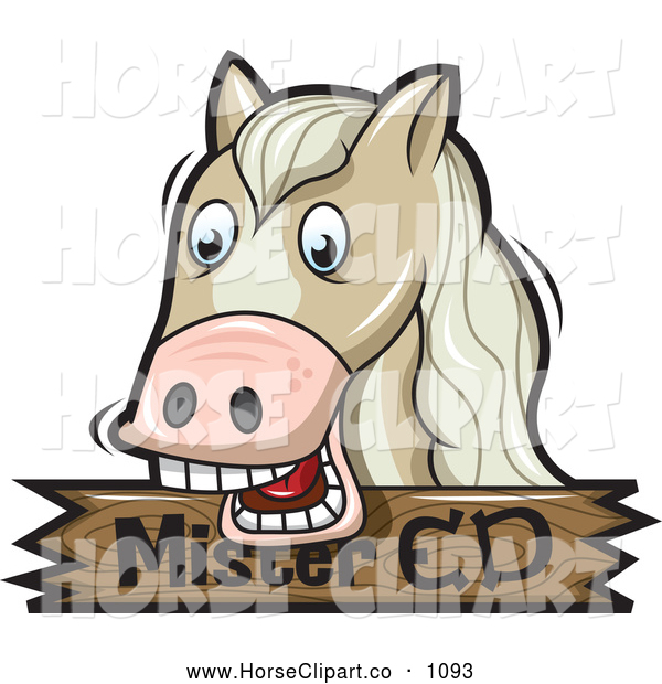Clip Art of a Horse over a Wooden Mister Ed Sign