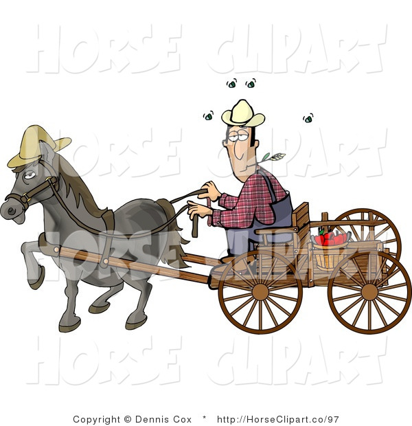 Clip Art of a Horse Pulling a Farmer on a Wooden Wagon