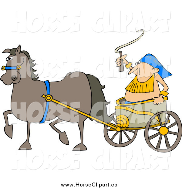 Clip Art of a Horse Pulling a Fat Guy in a Chariot
