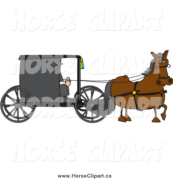 Clip Art of a Horse Pulling an Amish Buggy