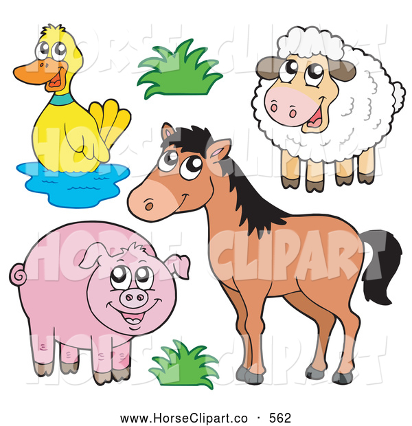Clip Art of a Horse with a Duck, Sheep and Pig