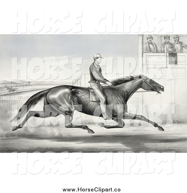 Clip Art of a Horseback Man Racing past Judges in Buffalo, New York, August 1st 1868