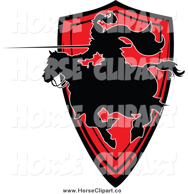 Clip Art of a Horseback Silhouetted Knight with a Lance over a Red Shield