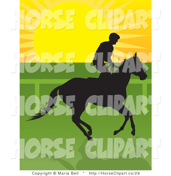 Clip Art of a Jockey Riding a Horse and Silhouetted in Black Against the Sunrise
