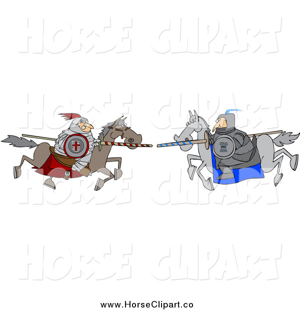 Clip Art of a Jousting Knight Opponents Racing Towards Eachother with Lances