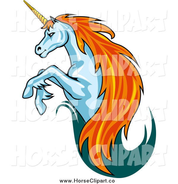 Clip Art of a Leaping Unicorn with a Trail of Teal and Red Hair