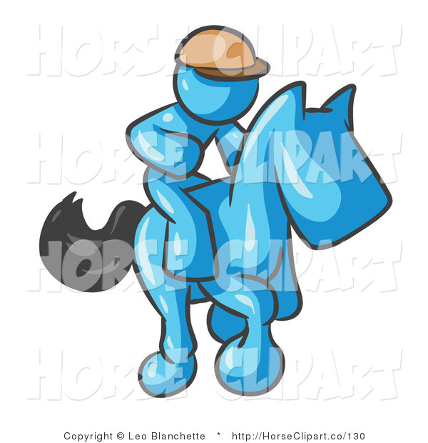 Clip Art of a Light Blue Man, a Jockey, Riding on a Matching Race Horse and Racing in a Derby