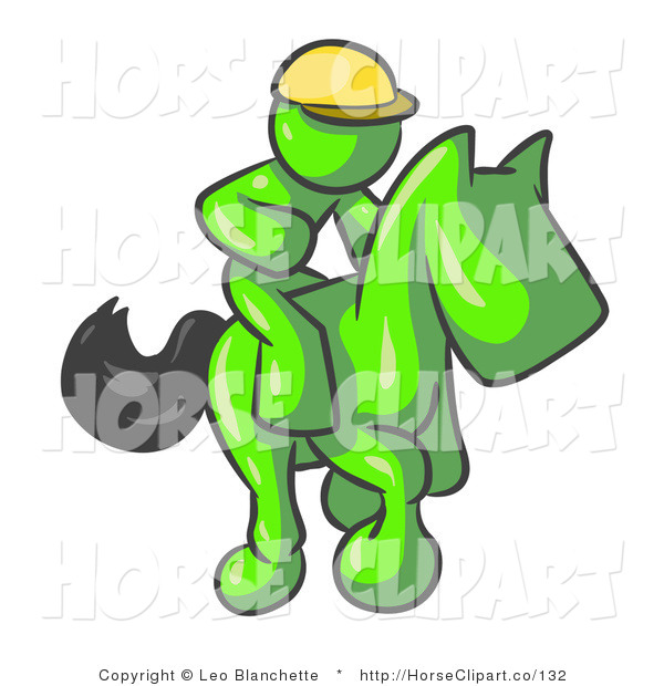Clip Art of a Lime Green Man, a Jockey, Riding on a Matching Race Horse and Racing in a Derby