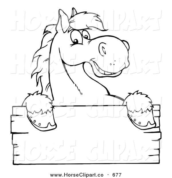 Clip Art of a Lineart Happy Horse Looking over a Blank Wood Sign