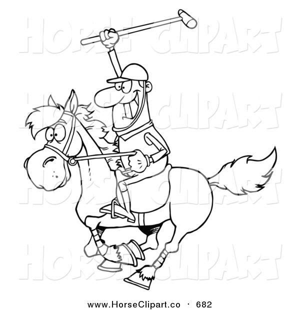 Clip Art of a Lineart Polo Player Holding up a Stick