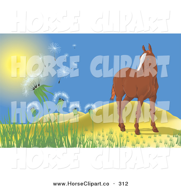 Clip Art of a Lone Brown Horse near Rolling Hills, Watching the Wind Blow Dandelions into the Air