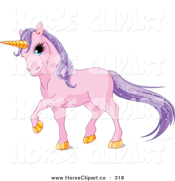 Clip Art of a Magical Pink Unicorn with Golden Hooves and a Horn and Sparkling Purple Hair
