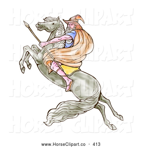 Clip Art of a Male Wizard Carrying a Spear and Riding on a Leaping Horse to the Left