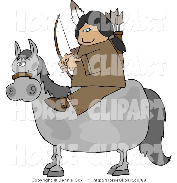 Clip Art of a Native American Sitting on a Horse with Bow an Arrow