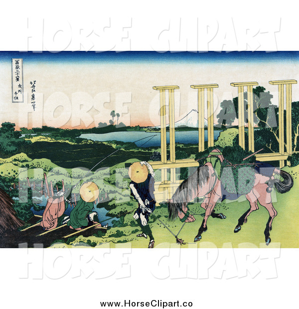 Clip Art of a People Fishing at a Weir in Senju, Musa
