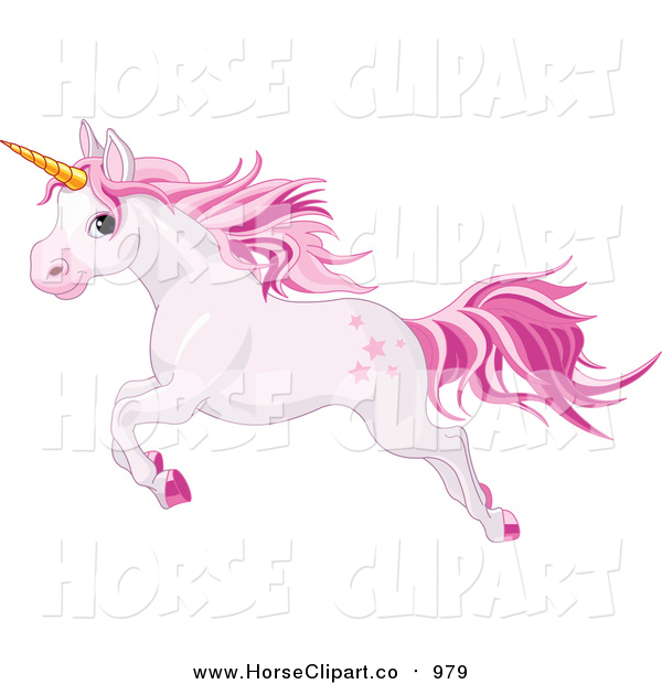 Clip Art of a Pink Unicorn Leaping to the Left