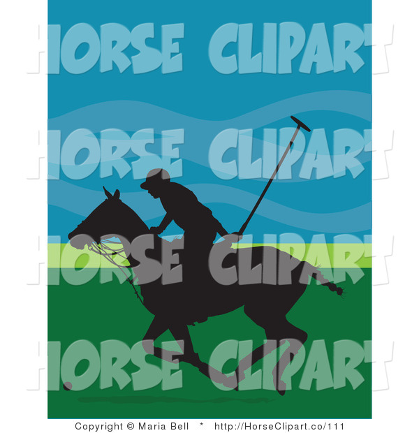 Clip Art of a Polo Player Guy Silhouetted in Black on a Galloping Horse, Against a Blue and Green Background