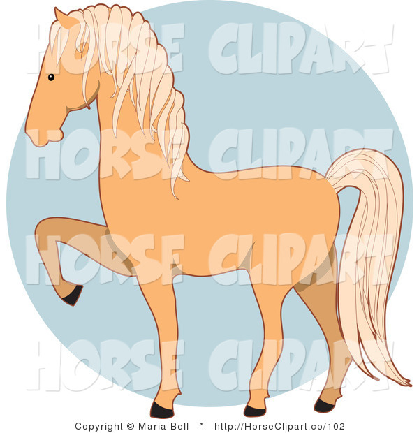 Clip Art of a Prancing Palomino Horse in Profile Facing Left over a Blue Circle