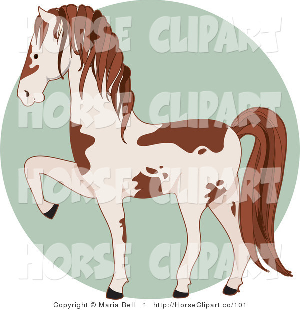 Clip Art of a Prancing White and Brown Pinto Horse Facing to the Left over a Green Circle
