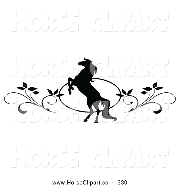 Clip Art of a Pretty Black and White Rearing Horse and Vine Website Header or Page Divider