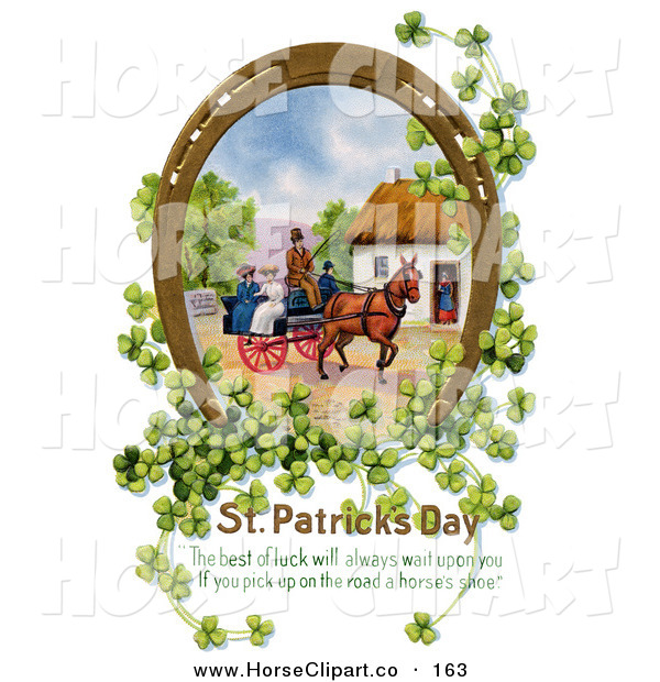 Clip Art of a Pretty Gilded Lucky Horse Shoe with Shamrock Surrounding a Scene of Ladies Riding on a Horse Drawn Wagon