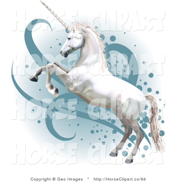 Clip Art of a Pretty White Horned Horse Rearing up on Its Hind Legs