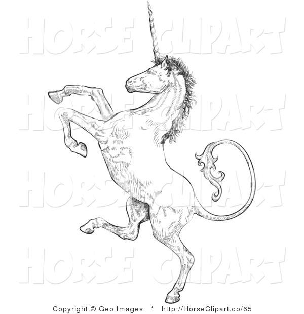 Clip Art of a Profile of a Unicorn Rearing up on His Hind Legs, Facing Left