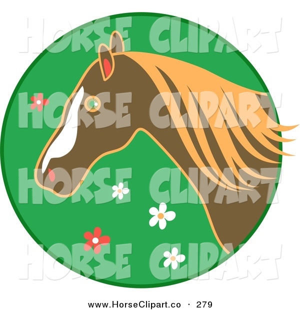 Clip Art of a Profiled Brown Horse over a Green Floral Circle on White