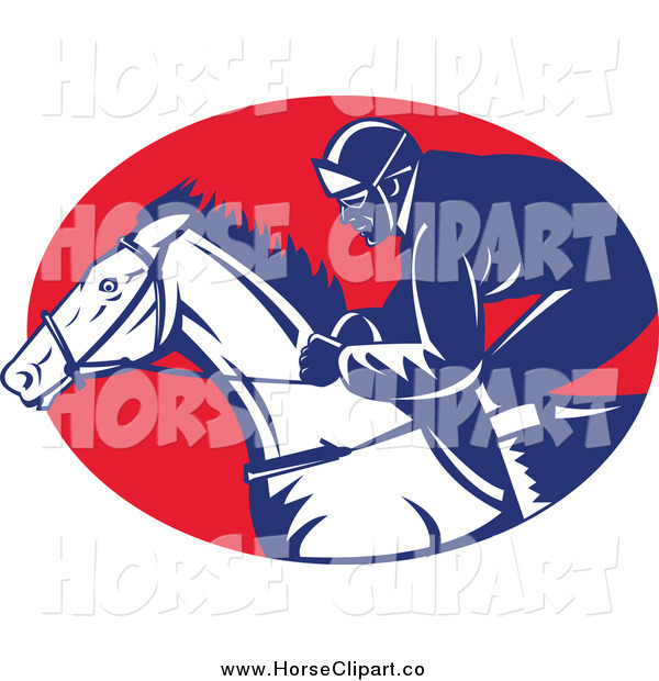 Clip Art of a Racing Jockey in a Red Oval