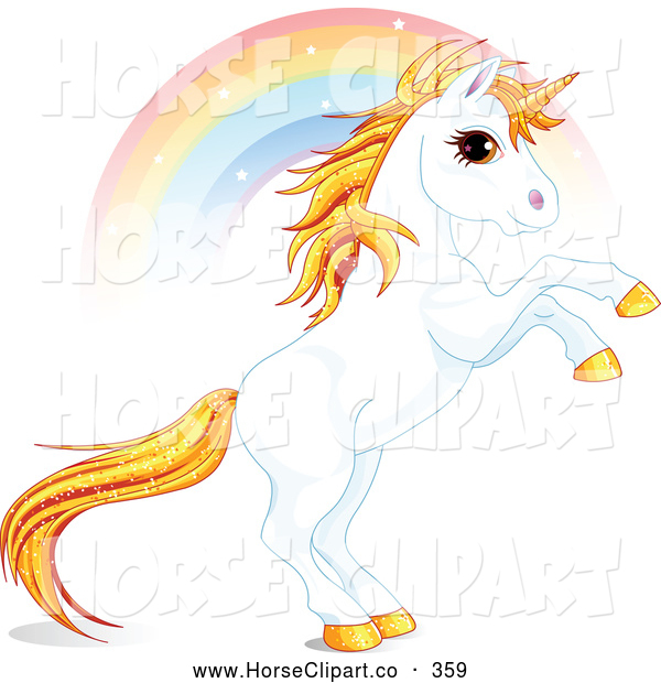 Clip Art of a Rainbow Streaming Behind a Beautiful Fantasy Unicorn Rearing up