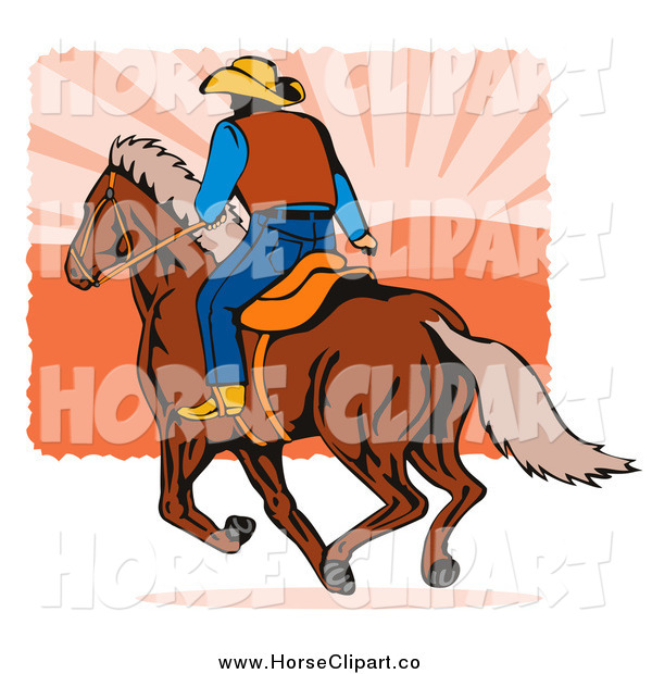 Clip Art of a Rear View of a Rodeo Cowboy Riding a Horse