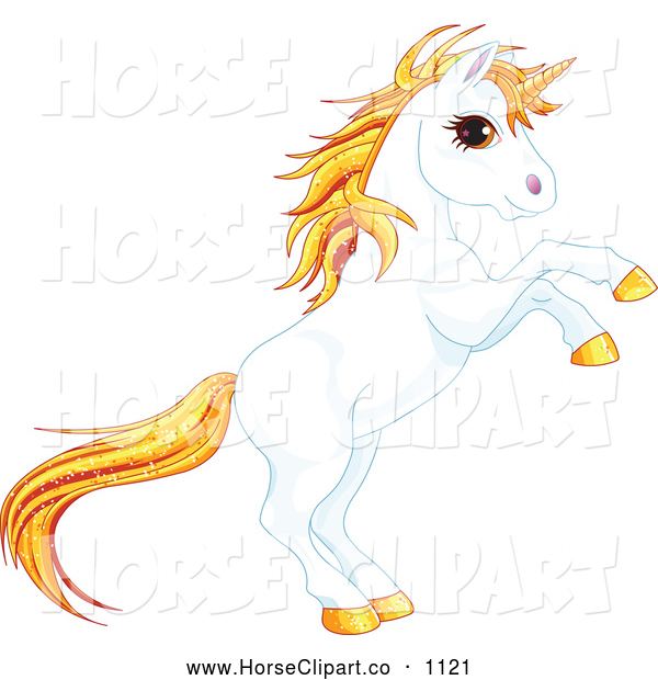 Clip Art of a Rearing Unicorn with Sparkly Orange Hair