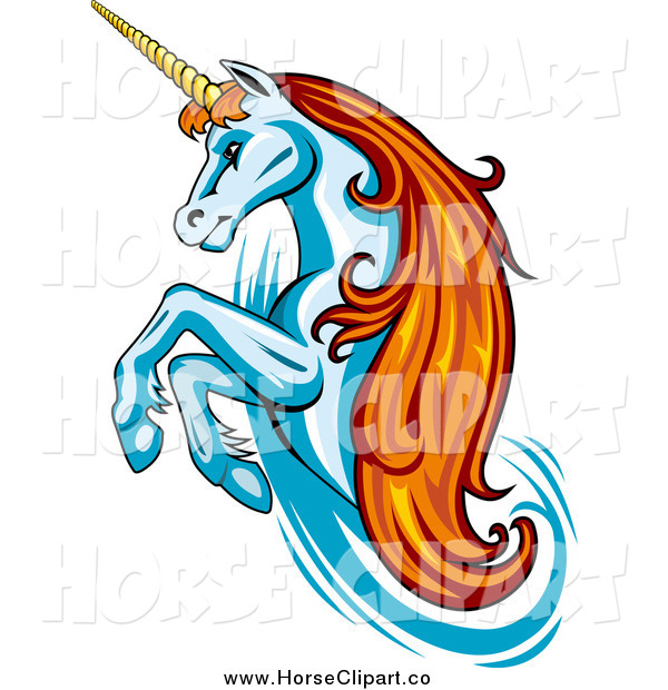 Clip Art of a Rearing White Unicorn with Orange Hair