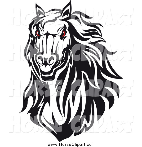 Clip Art of a Red Eyed Horse Head