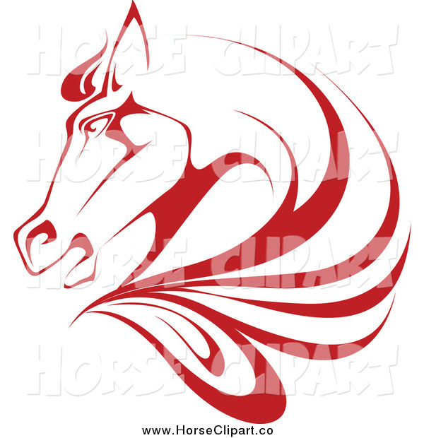 Clip Art of a Red Horse Head and Mane