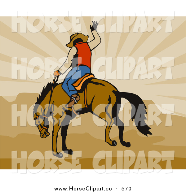 Clip Art of a Rodeo Cowboy Riding a Horse over Brown Mountains and Rays