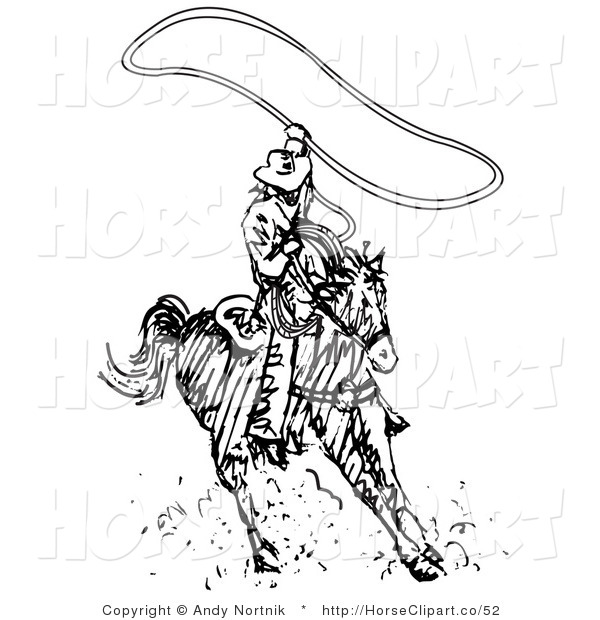 Clip Art of a Roper Cowboy on a Horse, Twirling a Lasso Overhead to Catch a Cow or Horse