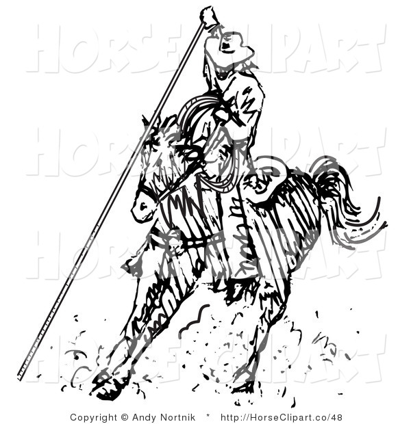 Clip Art of a Roping Cowboy on a Horse, Using a Lasso to Catch a Cow or Horse
