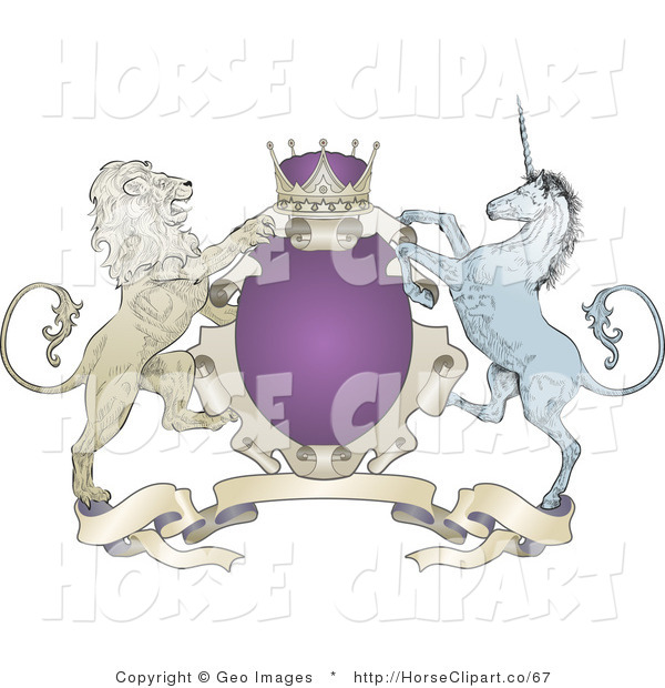 Clip Art of a Royal Purple Crown, Lion, and Blue Unicorn on a Purple Coat of Arms