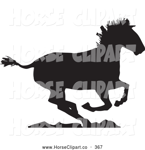 Clip Art of a Running Horse Going Right on Rocks