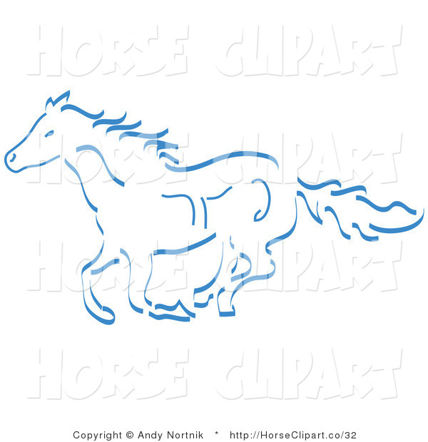 Clip Art of a Running Wild Horse in Blue on White